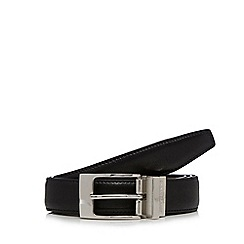 Jeff Banks - Big and tall designer black reversible leather belt