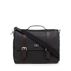 Jeff Banks - Designer black leather laptop briefcase
