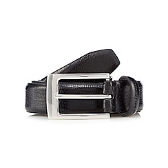 J by Jasper Conran - Big and tall designer black leather faux lizard skin belt