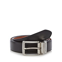 Thomas Nash - Black leather reversible matte buckle belt