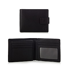 Jeff Banks - Designer black pebble grained leather tab wallet