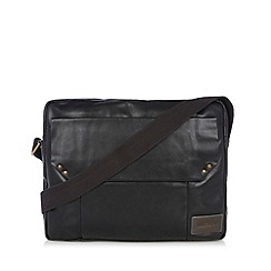 Hidesign - Black leather flap over pocket despatch bag