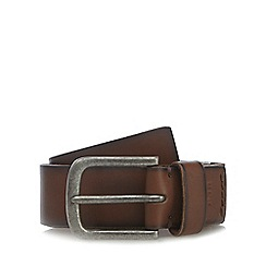 RJR.John Rocha - Big and tall designer brown leather logo tab belt