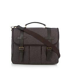 RJR.John Rocha - Designer brown leather wool blend satchel bag