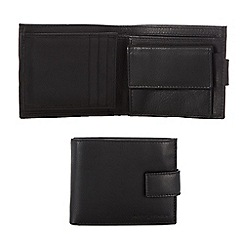 J by Jasper Conran - Black waxy leather tab wallet in a gift box