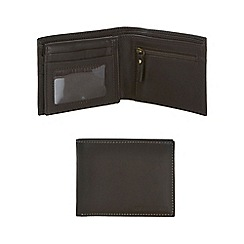 RJR.John Rocha - Brown contrast stitch leather wallet with pass case in a gift box