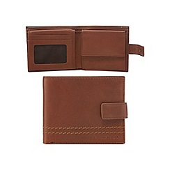 RJR.John Rocha - Brown leather chunky stitched tab wallet in a gift box