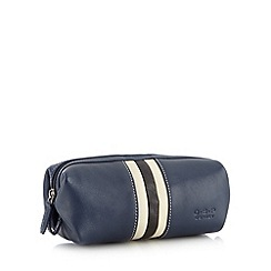 Osprey - Navy leather striped wash bag