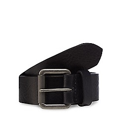 Mantaray - Black distressed leather roller buckle belt