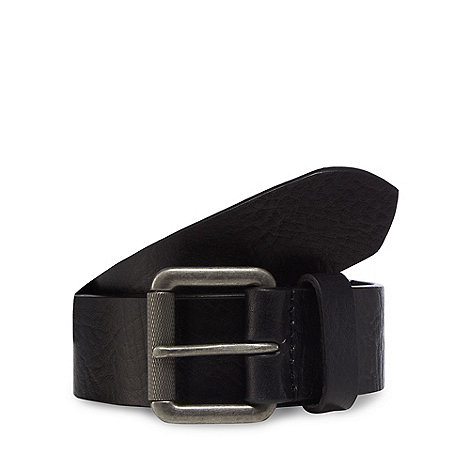 Mantaray - Black dsitressed leather roller buckle belt