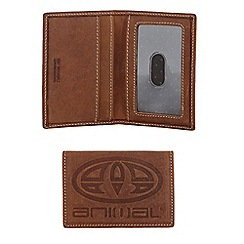 Animal - Brown leather logo debossed card holder