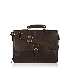 Hidesign - Dark brown leather briefcase