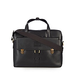 Hidesign - Black leather zip top briefcase