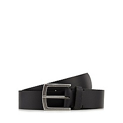 Ben Sherman - Black leather branded keeper belt