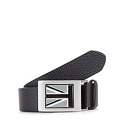 Red Herring - Big and tall black leather 'Union Jack' flip plate belt