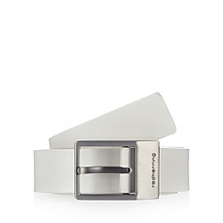Red Herring - Big and tall white leather pin buckle belt