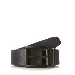 Thomas Nash - Black leather textured reversible belt