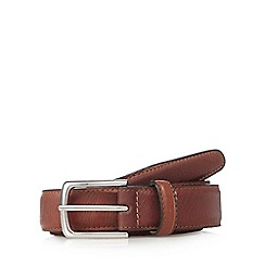 J by Jasper Conran - Big and tall designer tan stitched leather belt