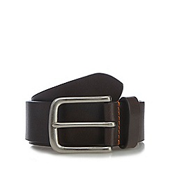 RJR.John Rocha - Big and tall designer brown leather orange stitch belt