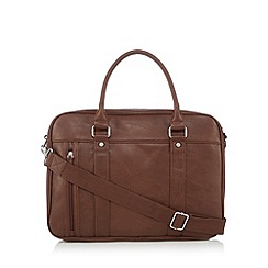 Red Herring - Brown zip pocket PU briefcase