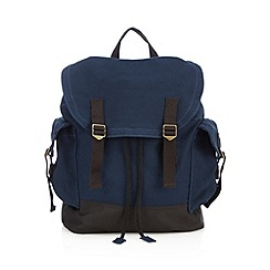 Mantaray - Navy drawstring canvas backpack