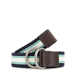 Red Herring - Navy striped D-ring buckle belt