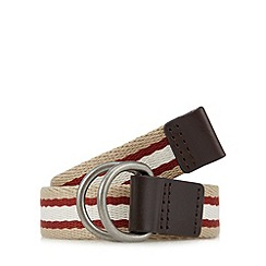 Red Herring - Natural striped D-ring buckle belt