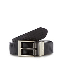Jeff Banks - Designer black perforated leather reversible belt
