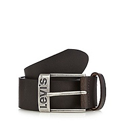 Levi's - Dark brown leather branded buckle belt