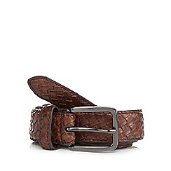 Red Herring - Brown plaited pin buckle belt