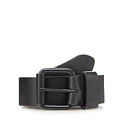 Red Herring - Black matte buckle leather belt
