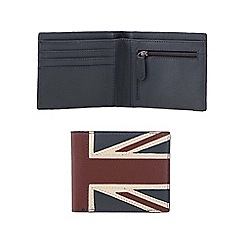 The Collection - Navy 'Union Jack' leather wallet