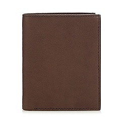 The Collection - Brown leather double pass zip coin wallet
