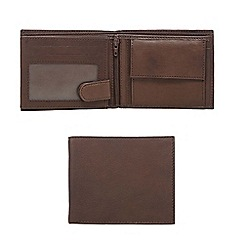 The Collection - Brown leather double pass wallet