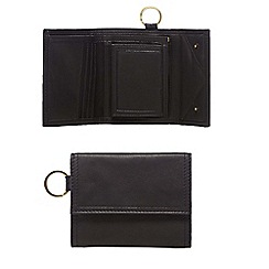 The Collection - Black leather trifold wallet