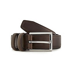 The Collection - Big and tall brown double keeper leather belt
