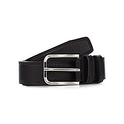 The Collection - Black grained leather double keeper belt