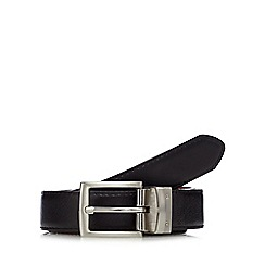 The Collection - Big and tall black matte leather reversible belt