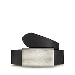 The Collection - Black coated bonded leather buckle belt