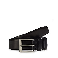 The Collection - Big and tall black leather double keeper belt