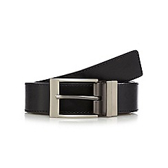 The Collection - Big and tall black leather reversible belt