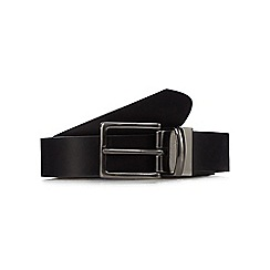 The Collection - Big and tall black smooth leather reversible belt