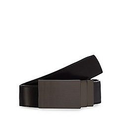 The Collection - Big and tall black coated bonded leather reversible plate buckle belt