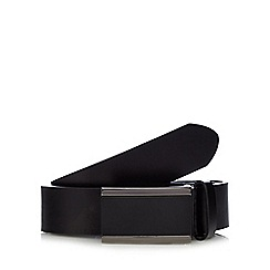 The Collection - Big and tall black leather matte plate buckle belt