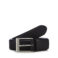 The Collection - Big and tall black tab detail leather belt