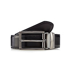 The Collection - Big and tall black leather brick detail buckle belt