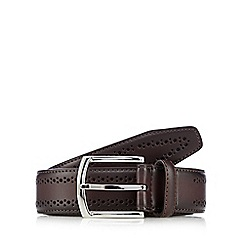 Jeff Banks - Dark brown leather brogue belt