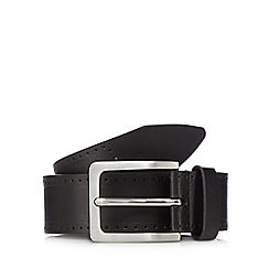Jeff Banks - Black leather punched pin buckle belt