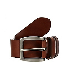 Jeff Banks - Big and tall tan leather double keeper belt