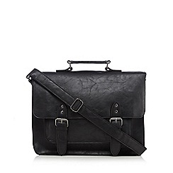 Red Herring - Black PU buckled satchel